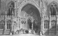 England, Gothic Architecture LINCOLN CATHEDRAL CHURCH ~ 1844 Art Print Engraving