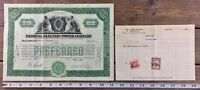 National Electric Power Company Stock Certificate Preferred Green 1929 Maine