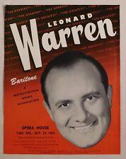 Leonard Warren rare classical handbill Sf Opera House Oct 27 1953 baritone vocal
