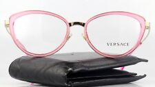 New Authentic VERSACE Eyeglasses 1244 1404 Pink Clear Cats Eye Designer Frames