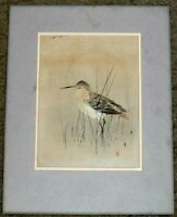 ARTIST SIGNED AND STAMPED ORIGINAL JAPANESE WATERCOLOR PAINTING OF BIRD