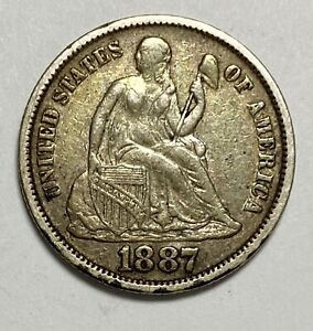 1887 Seated Liberty Dime 10¢ 0.900 Silver Circulated Coin (3457)