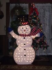 "CHRISTMAS BIG OUTDOOR LIGHTED FLUFFY TINSEL SNOWMAN FIGURE YARD SCULPTURE 56"" 4'"