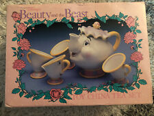Vintage Disney Beauty and The Beast Mrs Potts Teapot and Cup Set Complete GREAT