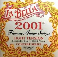 La Bella 2001 Flamenco Black Nylon Silver Plated Light Guitar Strings Labella