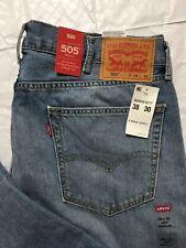 Levis 505 Jeans Mens Size 38x30 Regular Fit Straight Leg Light Wash Red Tab NWT
