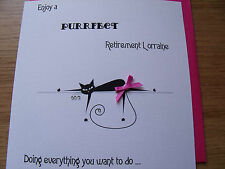 Luxury Handmade Personalised Cat Good Luck Retirement Card - with or without bow