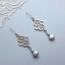 Celtic Earrings Sterling Silver Blue Pearl Teardrop Celtic Knot Jewellery UK