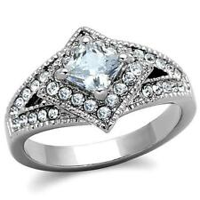 1.2ct Princess Cut AAA CZ Halo Retro Promise Engagement Women's Offset Band Ring