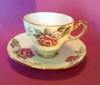 Hammersley Teacup And Saucer - La France Pattern - White Red Pink Rose - England