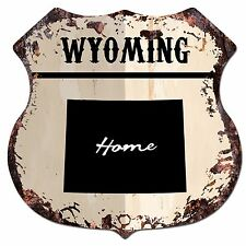 Bp0165 Home Wyoming Map Shield Rustic Chic Sign Bar Shop Home Decor Gift