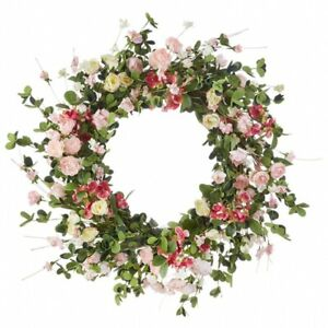 Mixed Floral Wreath Shades of Pink - 24 Inch New From RAZ 2020
