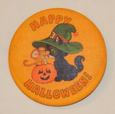 Vintage Hallmark Happy Halloween black cat pumpkin pin FREE SHIPPING