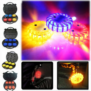 6pcs Rechargeable Emergency LED Road Flare Hazard Warning Light W/ Charger &Case