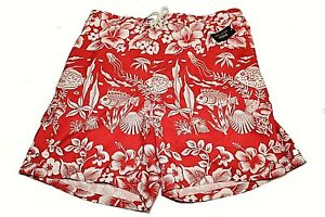 $75 Polo Ralph Lauren Coral Print Cargo Swim Suit Trunks Red/White Sz 2XB Mens