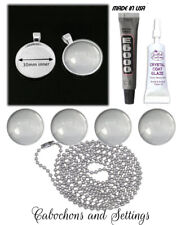 10 KITS Silver Round Pendant 30mm Settings Glass Ball Chain glue & glaze inc DIY