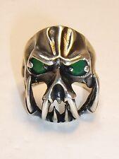 Skull Alien Fangs 925 Sterling Ring Biker Rocker Gothic Devil Predator Green 20g