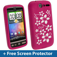 Pink Flower Silicone Skin Case for HTC Desire Bravo G7 Cover Holder Android