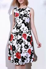Retro Style Round Neck Sleeveless Floral Print Vintage Tea Dress For Women