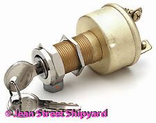 Marine Boat Hot Rod Universal Brass Ignition Starter Switch 3 Pos Off On Start 1