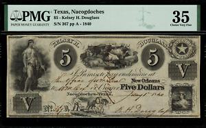 $5 Obsolete - Nacogdoches, Texas - Kelsey H. Douglass - Graded PMG 35