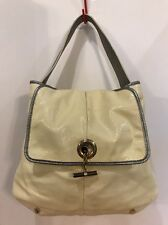 Authentic Yves Saint Laurent Patent Leather Hand Bag Off-white Rive Gauche