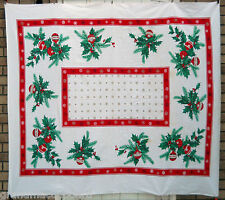 Vintage 50s Christmas Broadcloth Tablecloth 60X54 Holly Ornaments Snow Flakes