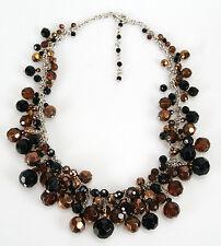 Maxine Denker MD6017NE Jet, Copper, Dark Topaz Glass Bobble Choker Necklace