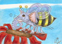 elephant Bumble bee aceo EBSQ Kim Loberg fantasy zoo Animal bug Mini Art Flower