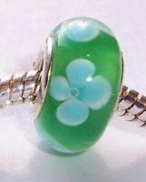 Green Blue Clover Flower Glass Bead fits Silver European Style Charm Bracelets