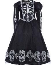 GIRLS Creative Black Mesh Skeleton Dress 5-6 years (NEW) Halloween