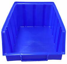 5 Stapelboxen PP Kunststoff Gr.4 blau Sichtlagerkästen Stapelkästen Lagerbox