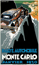 Vintage 1930s French Sports Car Monte Carlo Motor Racing Poster Art Print A4