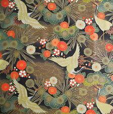 Japanese Cotton Fabric Remnant 48x55cm Black Crane Floral Pine PC895