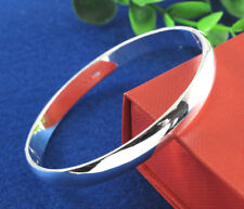 1pc Fashion Women 925 Silver Plain Cuff Bangle Charm Bracelet Wristband Jewelry