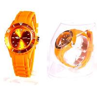 Armbanduhr Herren Damen Uhr Analog Sportuhr Orange Quarzuhr Silikon Armband