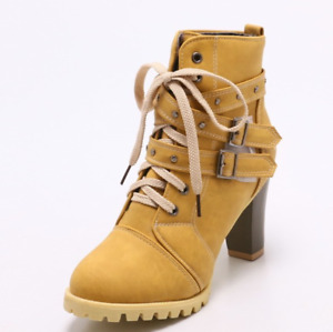 Women Round Toe Lace Up Belted Buckle Casual Spring Clubwear Outdoor Combat Boot