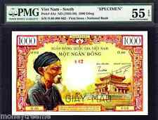 "SOUTH VIETNAM P4As 1955 ""OLD MAN AT TEMPLE"" 1000 DONG PMG 55EPQ! RARE"