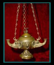 Antique BRONZE / BRASS ROMAN / GREEK HANGING OIL LAMP w/ 3 Elephant Head FONTS