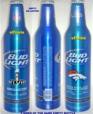 DENVER BRONCOS NFL 2014 SUPER BOWL CHAMP FOOTBALL SPORT ALUMINUM BOTTLE BEER CAN