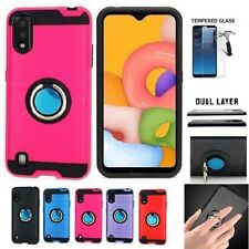 For Samsung A01/ A015, Metallic Brushed Cover Case + Ring + Tempered Glass
