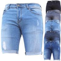 Mens Denim Shorts Stretch Slim Fit Gym Distressed Ripped Half Jeans Pants Summer