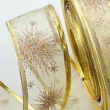 LUXURY Wired Ribbon Gold Organza glitter twinkle snowflakes stars 40mm Christmas