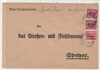 Germany 1922 Oggersheim Cancel Official Stamps Cover to Speyer ref 22937