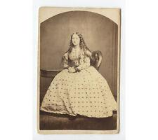 CIVIL WAR ERA YOUNG LADY IN BEAUTIFUL LONG DRESS, CDV STUDIO PORTRAIT