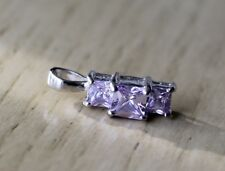 Silver Tone Light Amethyst Crystal or Rhinestone Pendant Gorgeous