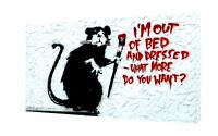 BANKSY I AM OUT OF BED PRINT ON FRAMED CANVAS WALL ART