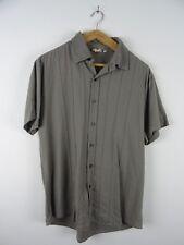 T Traxx Viscosa/Lino Pin Tuck Khaki Camisa Manga Corta Talla M/L