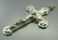 ITALY Silver Tone CRUCIFIX JESUS CROSS PENDANT For Rosary HIGHLY DETAILED VTG