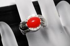 """""""GENUINE NATURAL CORAL"""" Red coral ring with Diamond pt900 From Japan 08"""